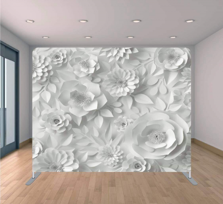 3D White Flowers Backdrop