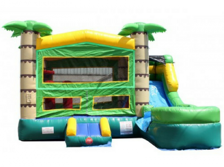 Tropical Water Slide Bounce House Combo