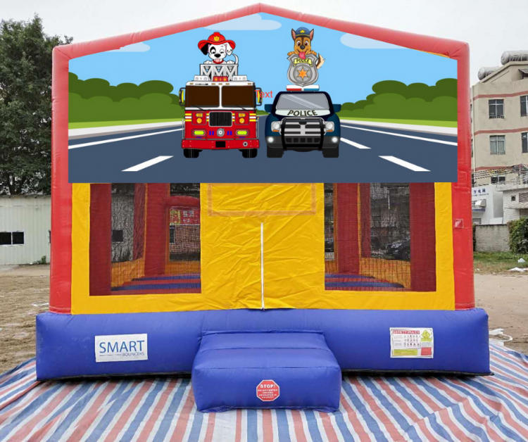 15x15 Fire/Police Puppy Dog Bounce House